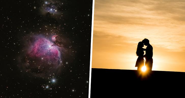 Detta är ett montage med en bild på stjärnor och ett kärlekspar.