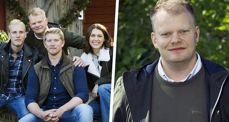 """Till höger är alla bönder i säsongens """"Bonde söker fru"""", till vänster bonden Per Solberg"""