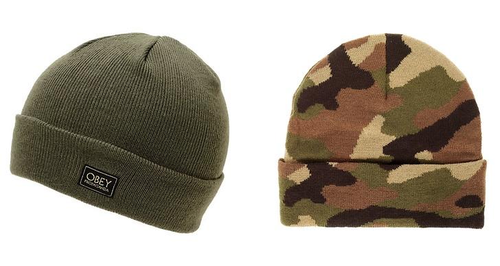 Army style-mössor från Obey ca 159kr respektive 120kr från Weekday