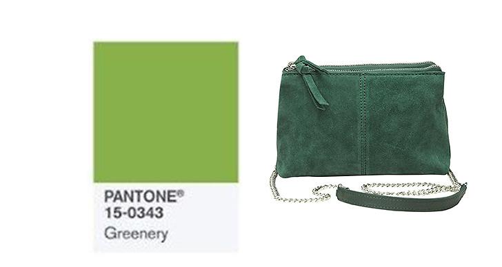 Satsa på gröna toner, ljusa som mörka. Väska, <a href='https://track.adtraction.com/t/t?a=462891025&as=1119460438&t=2&tk=1&url=http://www.bubbleroom.se/sv/accessoarer/kvinna/pieces/väskor-7/paisley-suede-bag-grön'>Pieces</a> ca 600 kronor.
