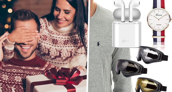 Bilden är ett montage med en bild på ett par som ger julklappar och tips på julklappar till pojkvännen.