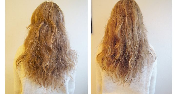 """Modetten Molly Rustas testade John Friedas hårolja """"Mitt hår är väldigt frissigt och det har därför svårt att ta upp fukt, men denna olja återfuktade väldigt bra"""""""