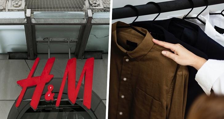 Bild på H&M:s logga till vänster. Till höger ser man en hand som håller i en skjorta som hänger på en klädstång.