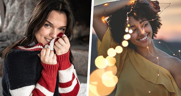 Två bilder på två glada tjejer