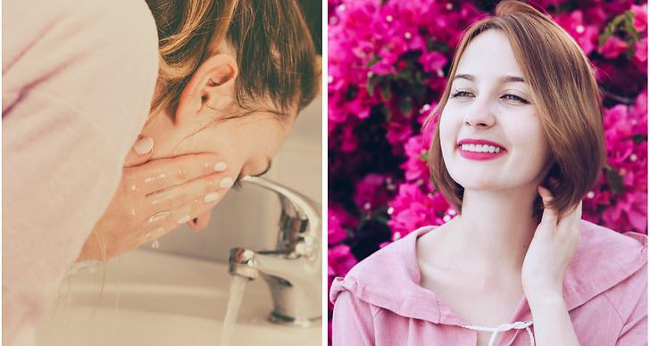 En tjej tvättar ansiktet och en annan håller handen mot sitt ansikte.