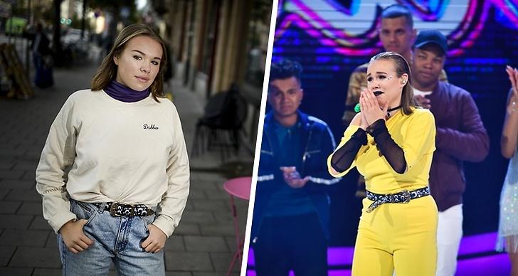 Bilden är ett montage. Till vänster poserar Vanja Engström på en gata. I bilden till höger står Vanja på scenen under en fredagsfinal av Idol 2018.