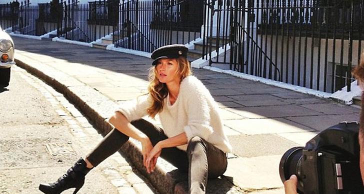 """""""Beautiful sunshine in London"""", skrev Gisele och postade den här bilden på Instagram."""