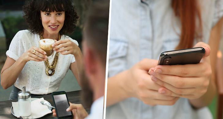 Kvinna med kaffe kollar på kille som håller i telefon, hand som håller i telefon