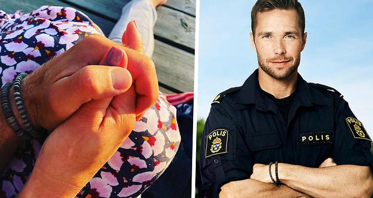 En bild på David Möller och hans nya flickväns händer tillsammans med en bild på David från Bachelor 2018.
