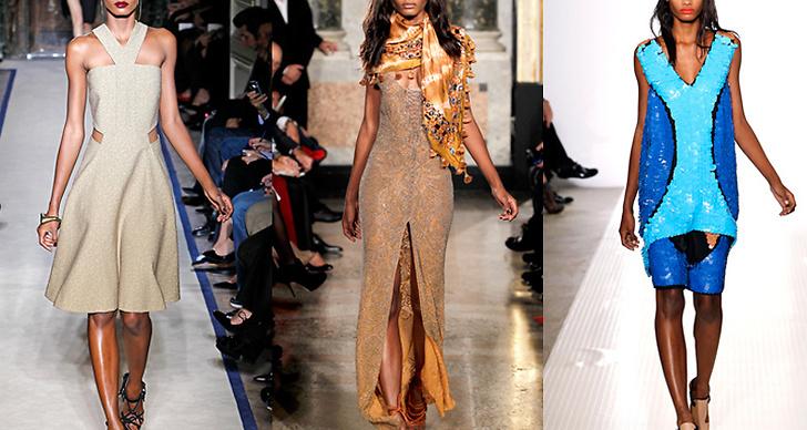 Modellen i visningar för Yves Saint Lauren, Emilio Pucci och Marni.