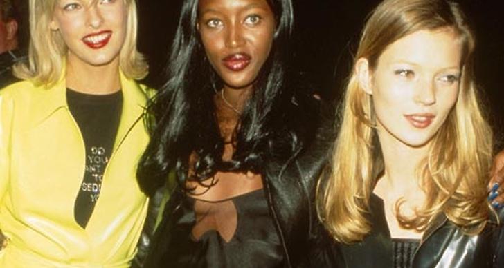 Linda Evangelista, Naomi Campbell och Kate Moss år 1994.