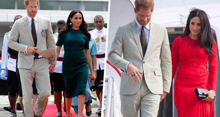 Prins Harry i kostym, Meghan Markle i grön klänning och röd klänning.