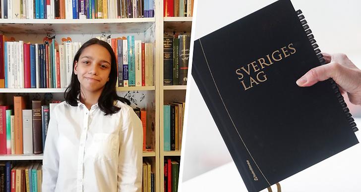 Till höger ser vi en bild på Mathilda Bandarian och till vänster ser vi en bild på Sveriges nya lagbok.