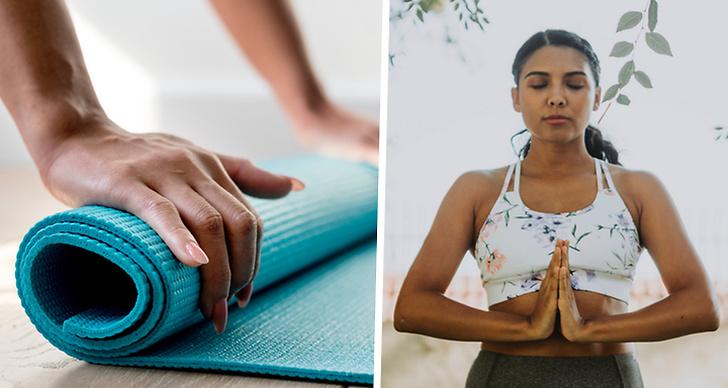 ett bildmontage med en ihoprullad yogamatta och en bild på en tjej som gör en yoga övning.
