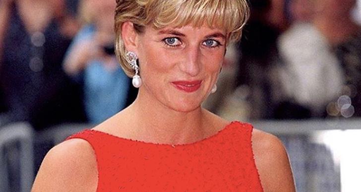 Prinsessan Diana klädd i rött
