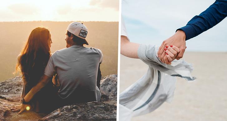 Ett par som håller om varandra på en klippa i solnedgången och ett par som håller varandras händer.