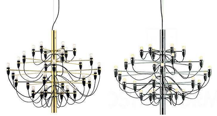 Lampan som designades redan 1958 av Gino Sarfatti finns även i mässing och krom.