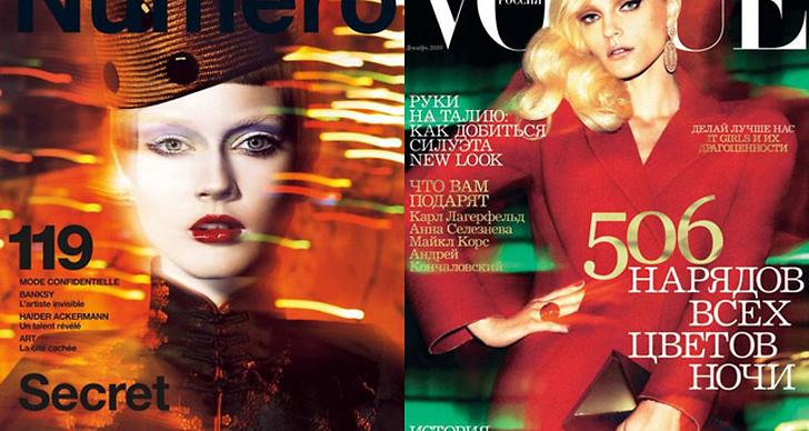 Månadens Tema - Número (t v), Vogue Ryssland (t h).