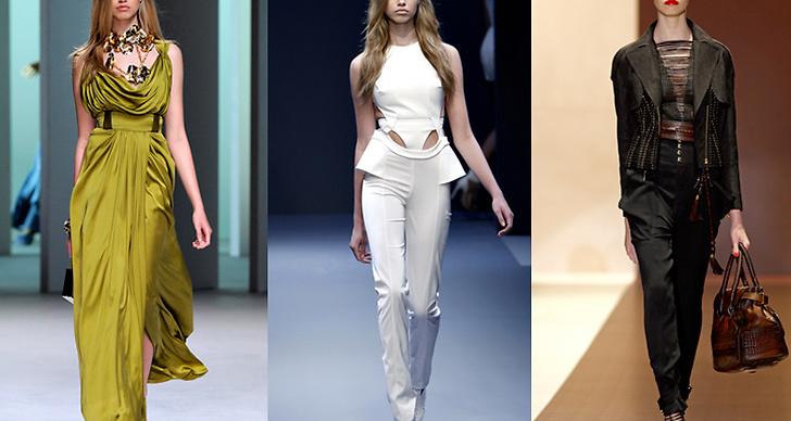 Modellen i kreationer av Elie Saab, Hakaan och Gucci.