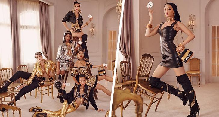 Till vänster visas en kampanjbild från H&M x Moschino med fem modeller. Till höger visas en bild på en modell som visar upp kläderna från H&M x Moschino.