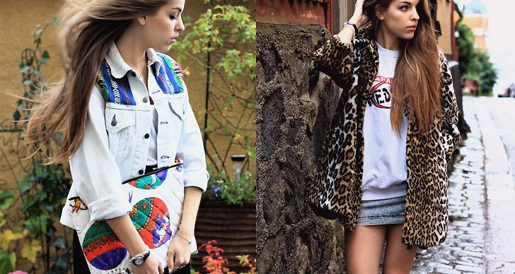 Till höger: Jeansjacka 549 kr och väska 299 kr (Remake), kjol 329 kr. Till vänster: Fuskpälsjacka 299 kr, sweatshirt 219 kr, kjol 129 kr.