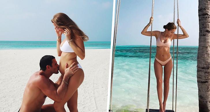Bilden är ett montage med en bild på när Aleks kysser Kenzas gravida mage och en bild på när hon döljer magen.