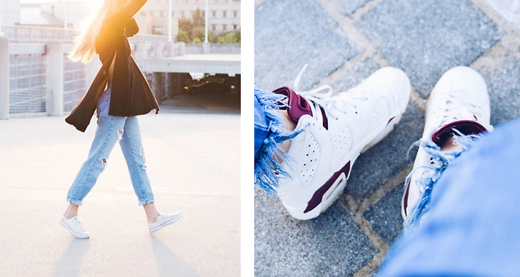 Ett bildmontage på vita sneakers.