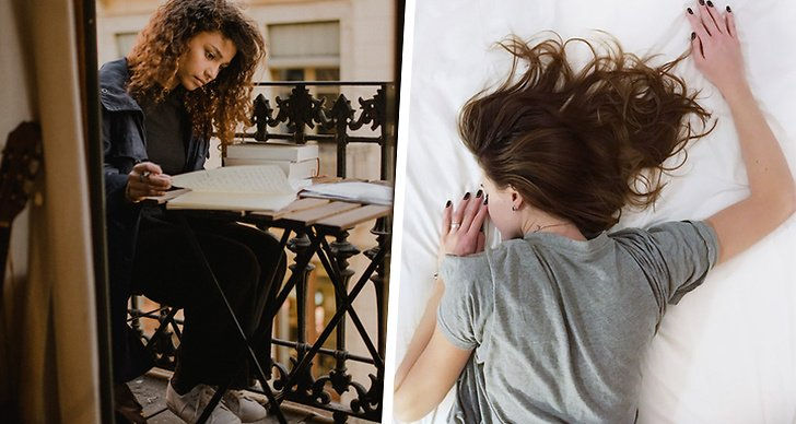 Till vänster en tjej som sitter och skriver. Till höger en tjej som ligger och sover.