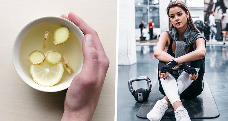 En hand som håller i citron och ingefära-vatten och en tjej som sitter på en gymmatta.