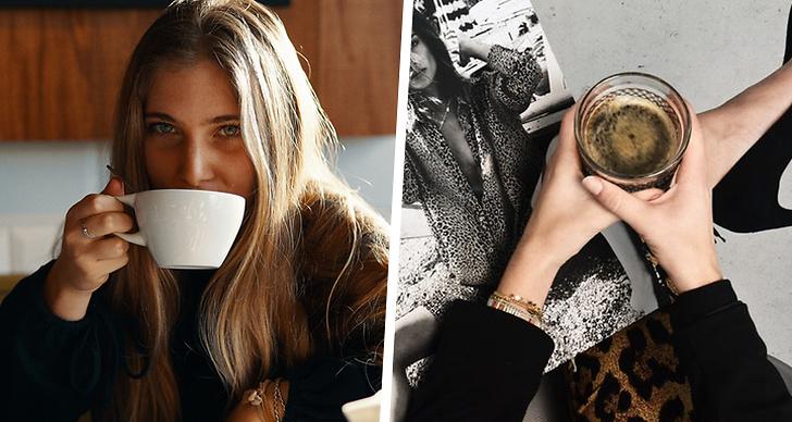 En tjej som dricker ur en mugg, en tjej med en kaffekopp i hands