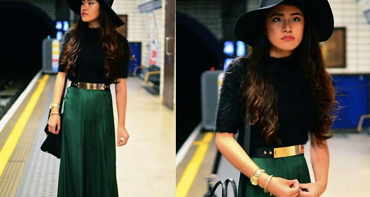 Svepande jadegrön kjol och bred metallbricka på bältet i midjan. Fler utav Vin från Englands looks hittar du här http://lookbook.nu/beatrixb