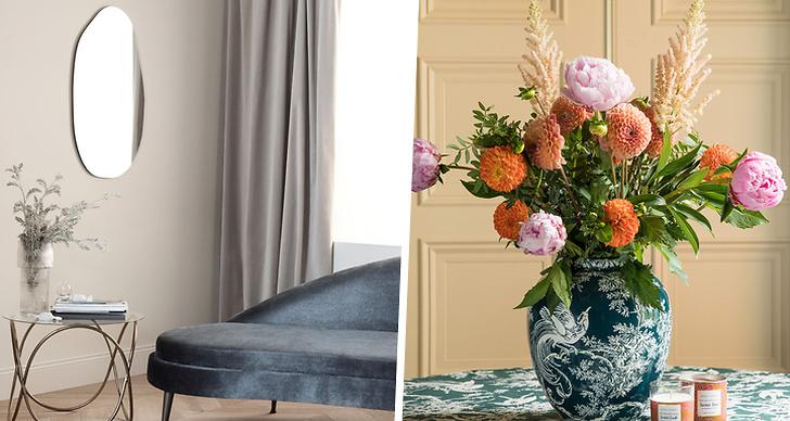 Till vänster är en bild på art deco inredning från H&M och till höger visas en vas från indiska i keramik. I vasen står en bukett blommor.