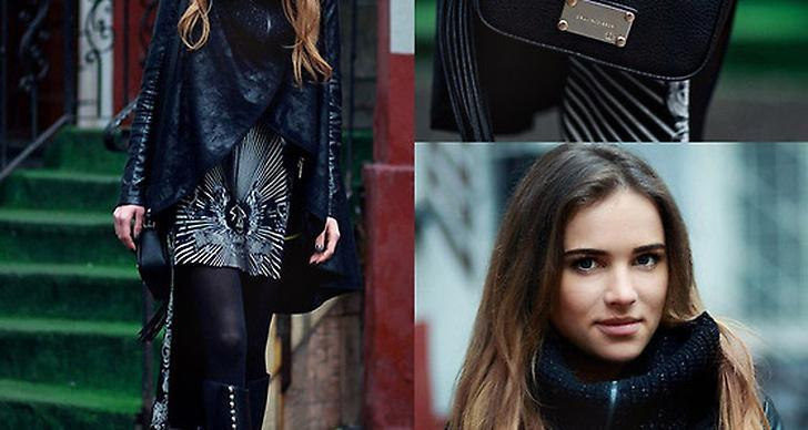 Juliette från Polen i svart, lager på lager och gulddetaljer. Mer av henne här http://lookbook.nu/juliettk